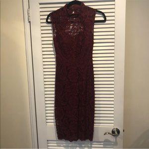Betsy & Adam Lace Wine Color Dress Size 2